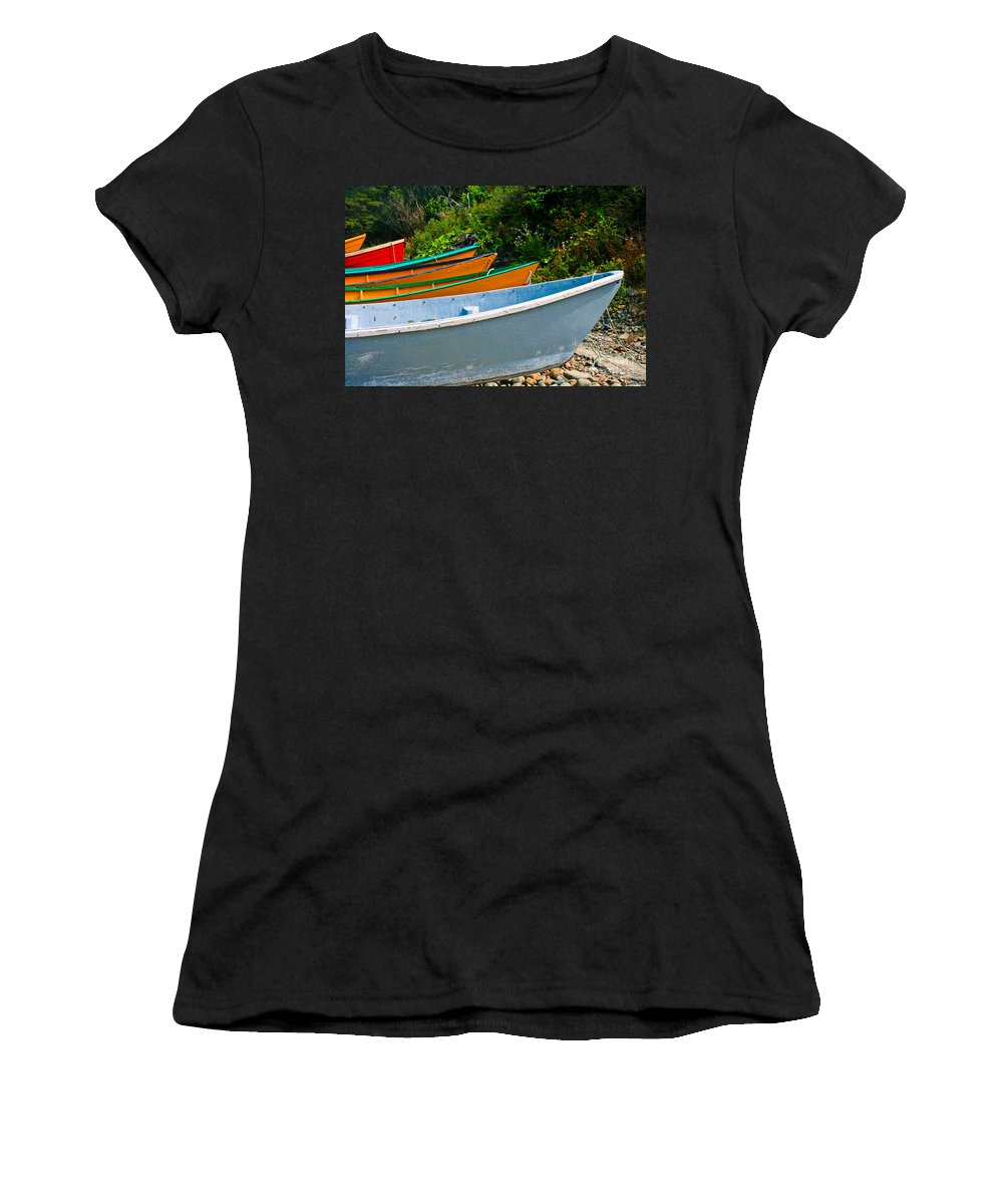 Fishing Women's T-Shirt (Athletic Fit) featuring the photograph Colorful Fishing Boats On A Rocky Shore Grand Manan by Thomas Marchessault