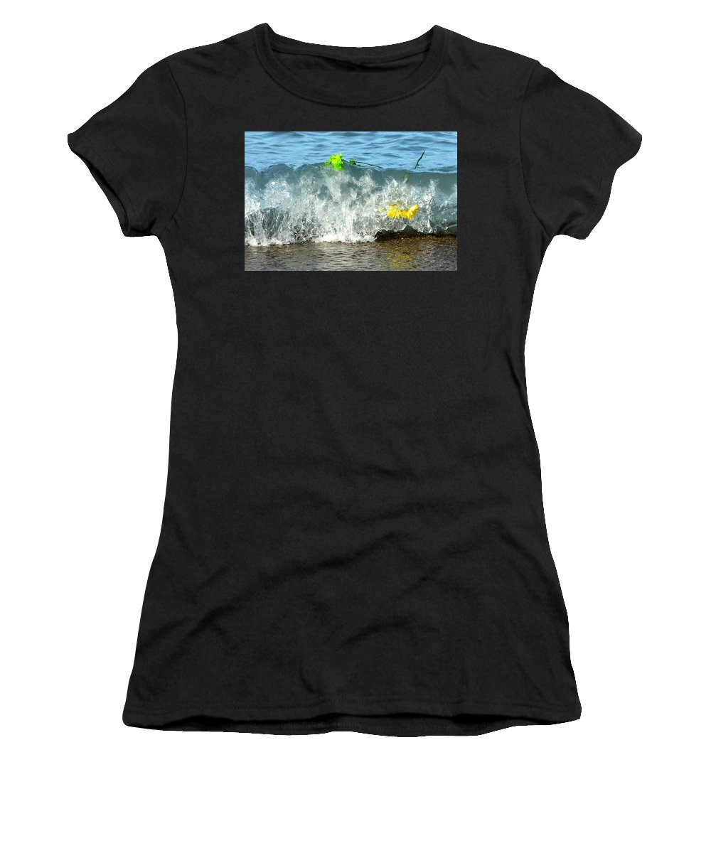 Flowers Women's T-Shirt featuring the photograph Colorful Flowers Crashing Inside A Wave Against The Shoreline by Reva Steenbergen