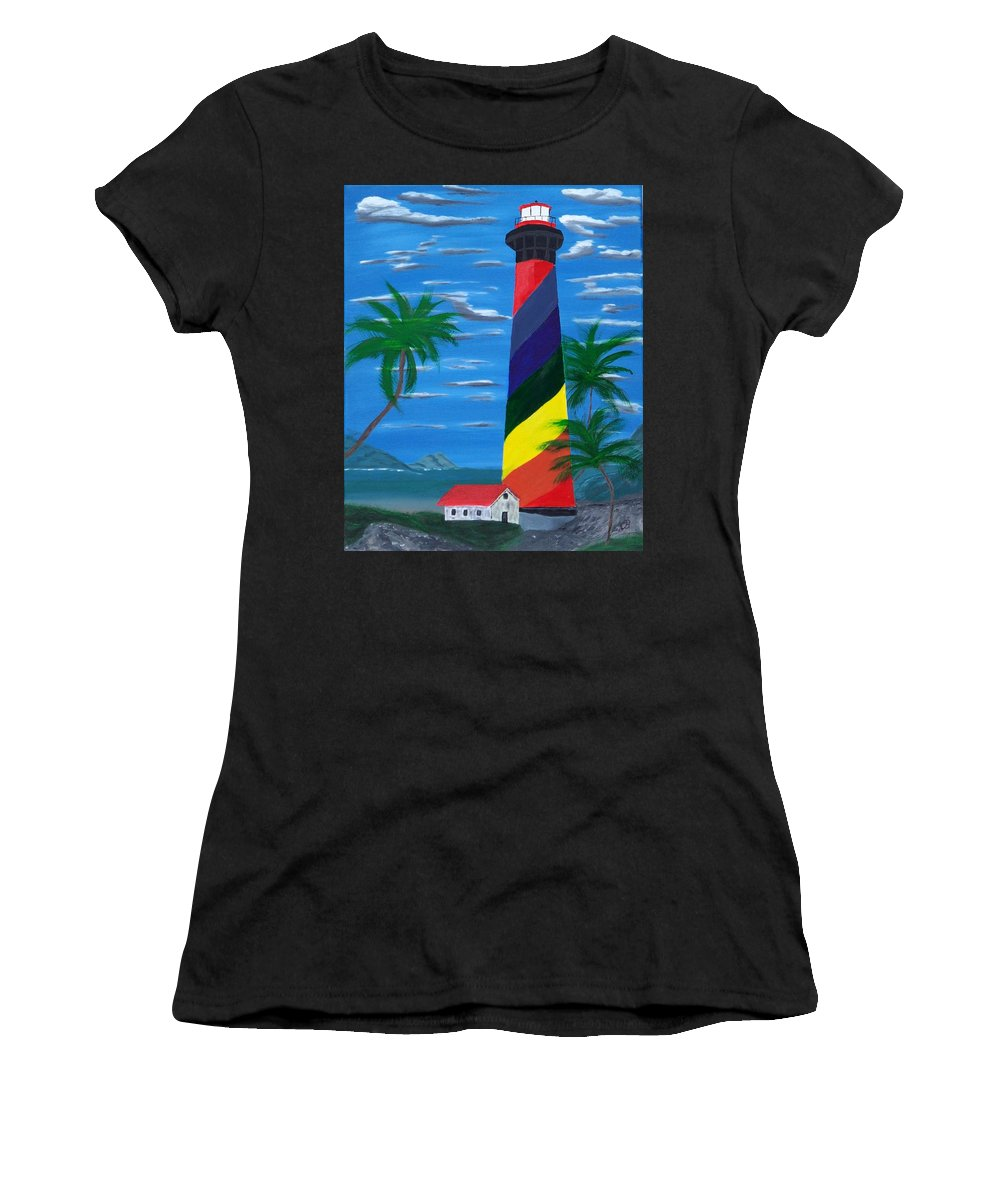 Light House Blue Sky Palm Trees Ocean Lake River Women's T-Shirt (Athletic Fit) featuring the painting Colorful Lighthouse by Lawrence Booth