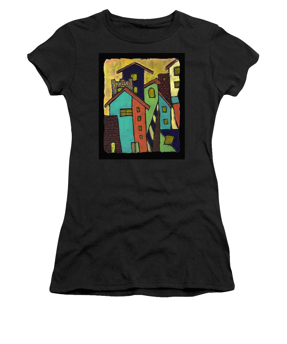 City Women's T-Shirt (Athletic Fit) featuring the painting Colorful Neighborhood by Wayne Potrafka