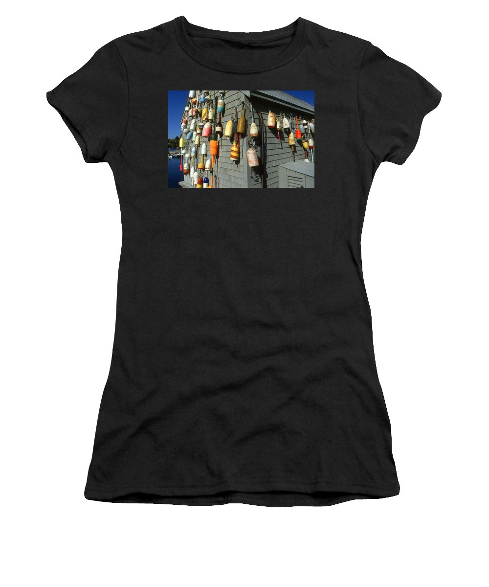 New Women's T-Shirt (Athletic Fit) featuring the photograph Colorful New England Buoys by Peter Potter