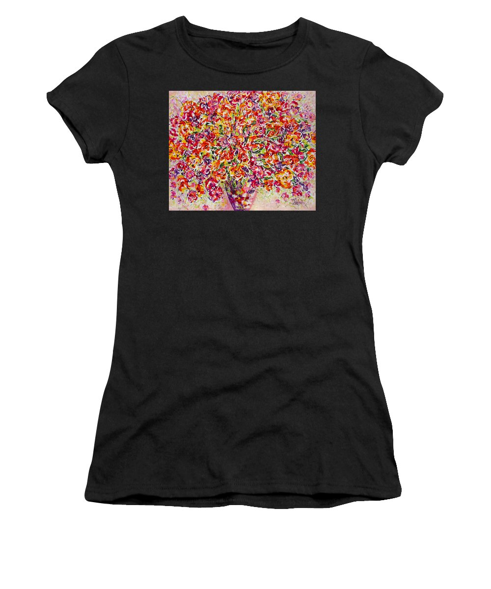 Framed Prints Women's T-Shirt (Athletic Fit) featuring the painting Colorful Organza by Natalie Holland
