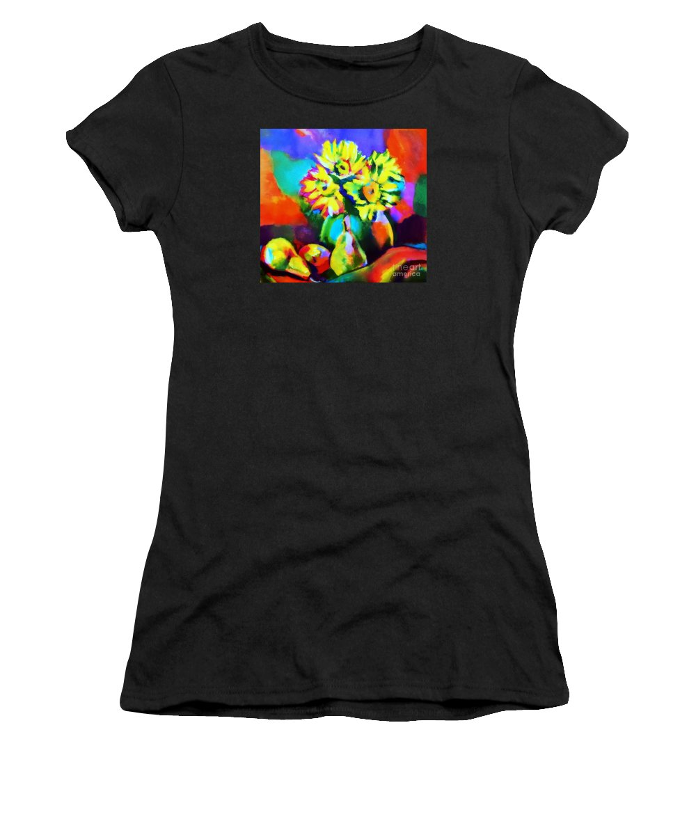 Flower Vase Women's T-Shirt (Athletic Fit) featuring the painting Colors, Pears And Flowers by Helena Wierzbicki