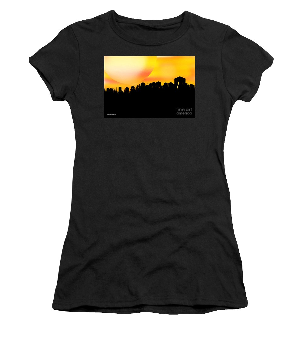 Sunset Women's T-Shirt (Athletic Fit) featuring the digital art Colossal Ending by Shelley Jones