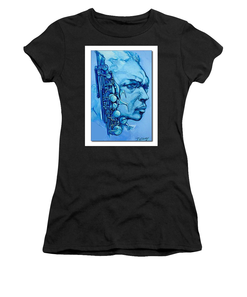 Original Fine Art By Lloyd Deberry Women's T-Shirt (Athletic Fit) featuring the painting Coltrane by Lloyd DeBerry