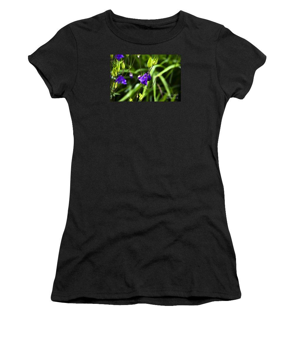 Columbine Flower Women's T-Shirt (Athletic Fit) featuring the photograph Columbine Flower 2 by Marina McLain