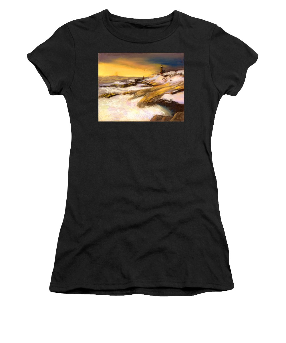 Seascape Women's T-Shirt featuring the painting Come Home by Gail Kirtz
