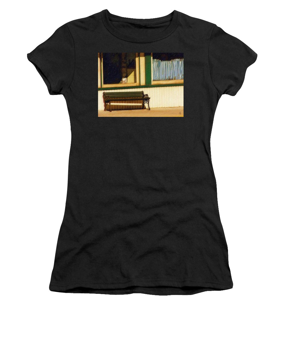 Bench Women's T-Shirt featuring the photograph Come Sit A Spell by Sandy MacGowan