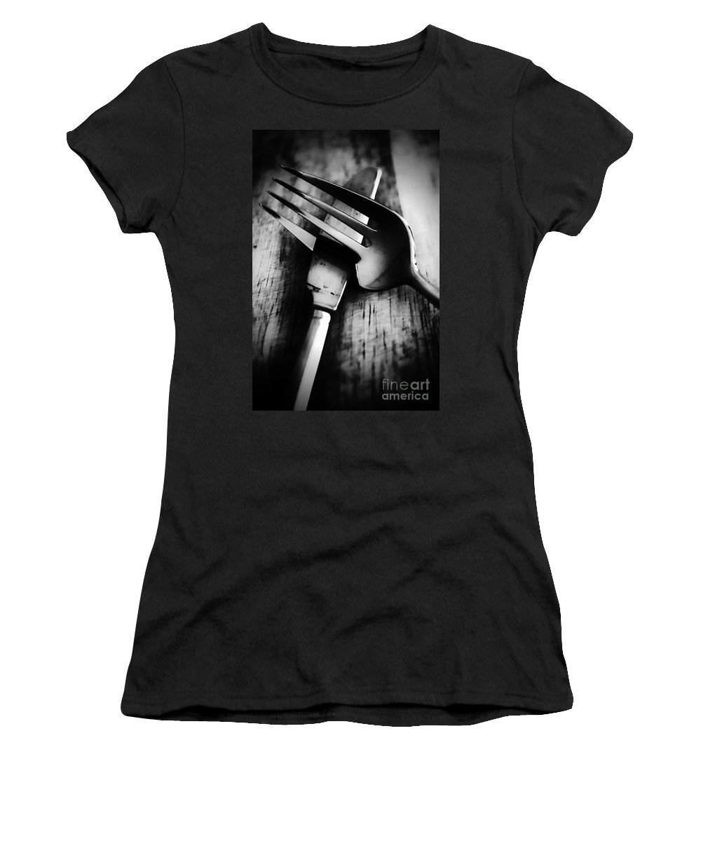 Knife Women's T-Shirt featuring the photograph Comes As A Pair by Clare Bevan
