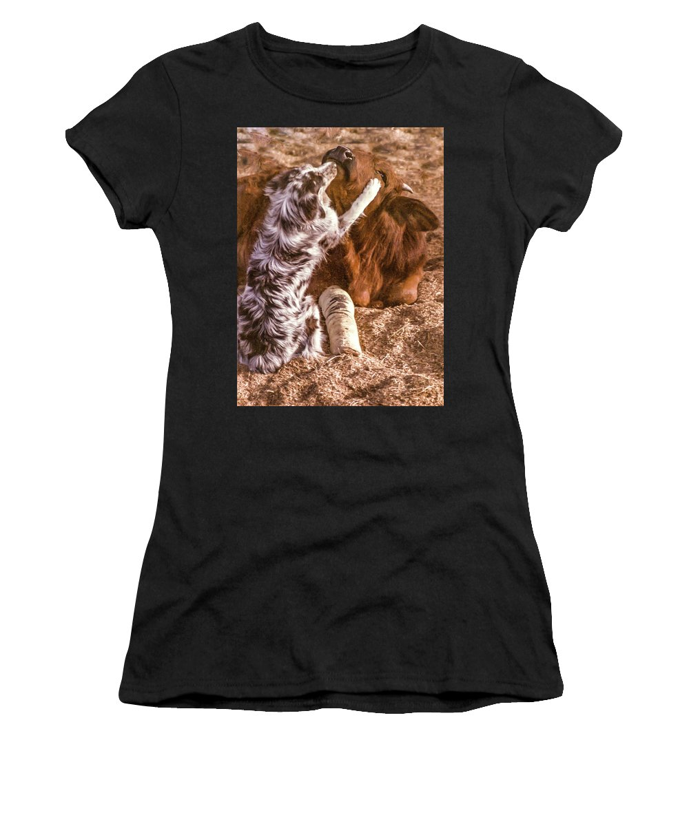 Dog Women's T-Shirt (Athletic Fit) featuring the photograph Comforting The Heifer With A Broken Leg by Elizabeth Hershkowitz