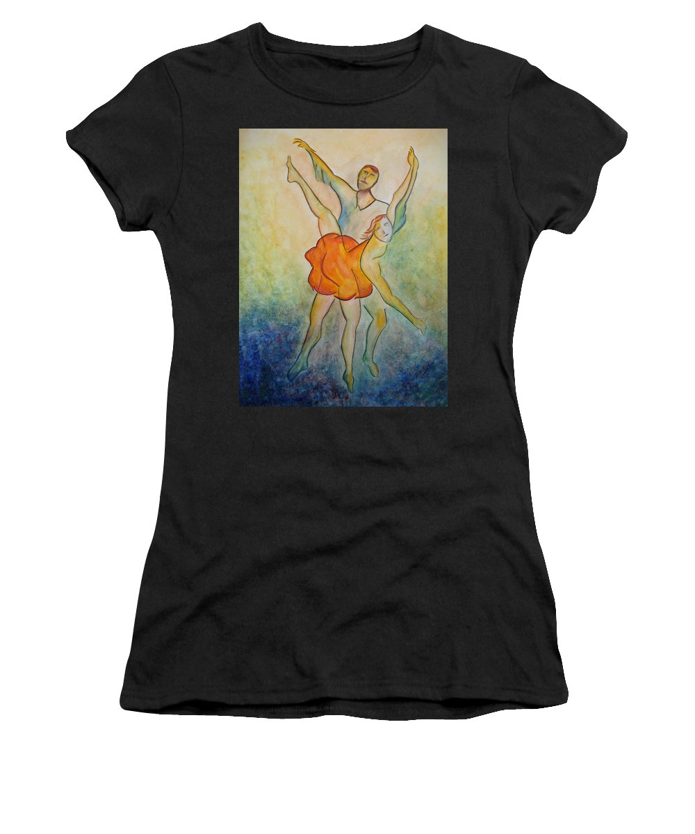 Ballet Women's T-Shirt featuring the painting Comic Ballet by Donna Blackhall
