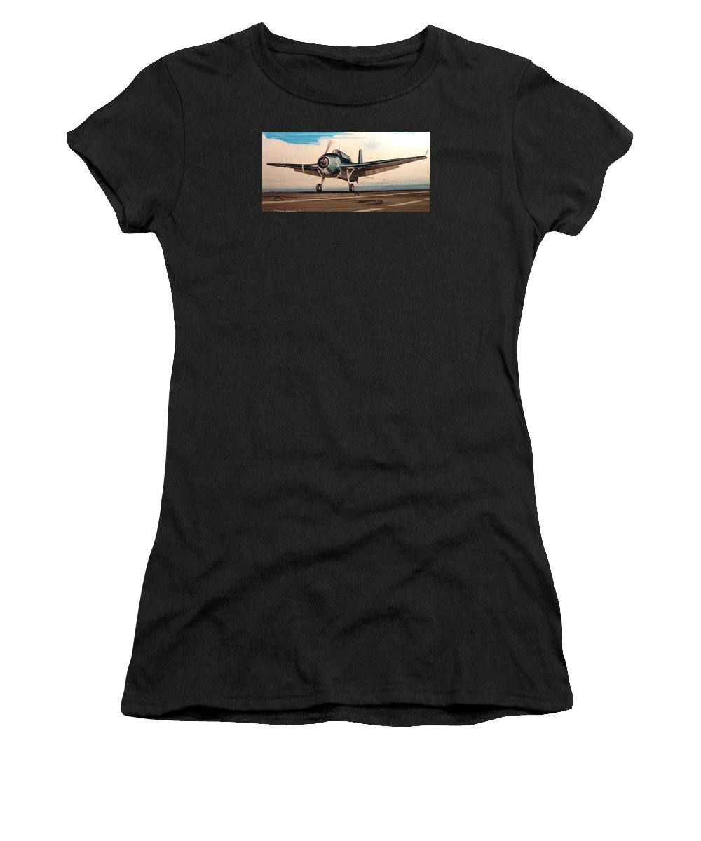 Painting Women's T-Shirt featuring the painting Coming Aboard by Marc Stewart