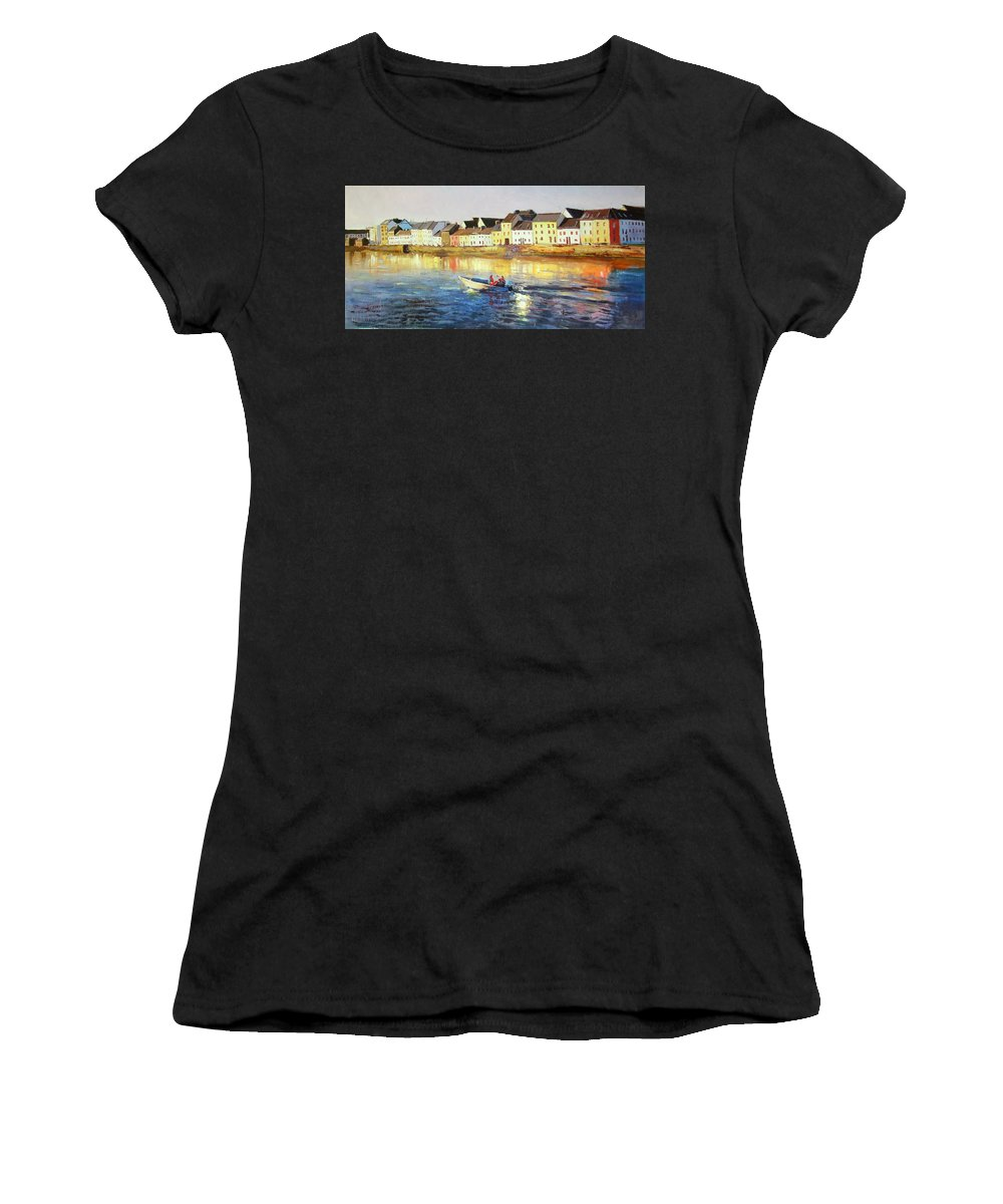 Seascape Women's T-Shirt (Athletic Fit) featuring the painting Coming Home by Conor McGuire