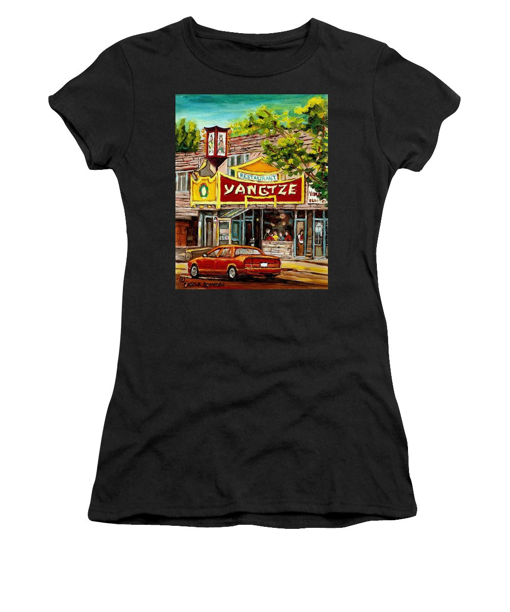 Commissions Women's T-Shirt (Athletic Fit) featuring the painting Commissioned Building Portraits By Carole Spandau Classically Trained Artist by Carole Spandau