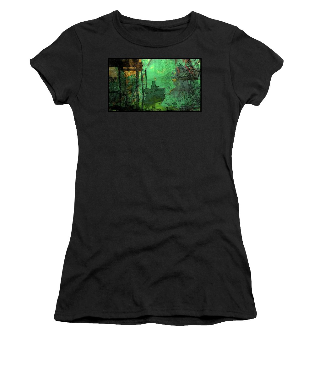 Lake Women's T-Shirt (Athletic Fit) featuring the digital art Commune by Ellen Cannon