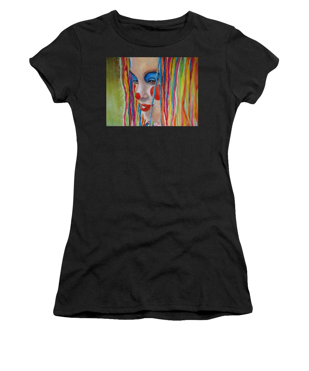 Clowns Women's T-Shirt (Athletic Fit) featuring the painting Complementary by Myra Evans