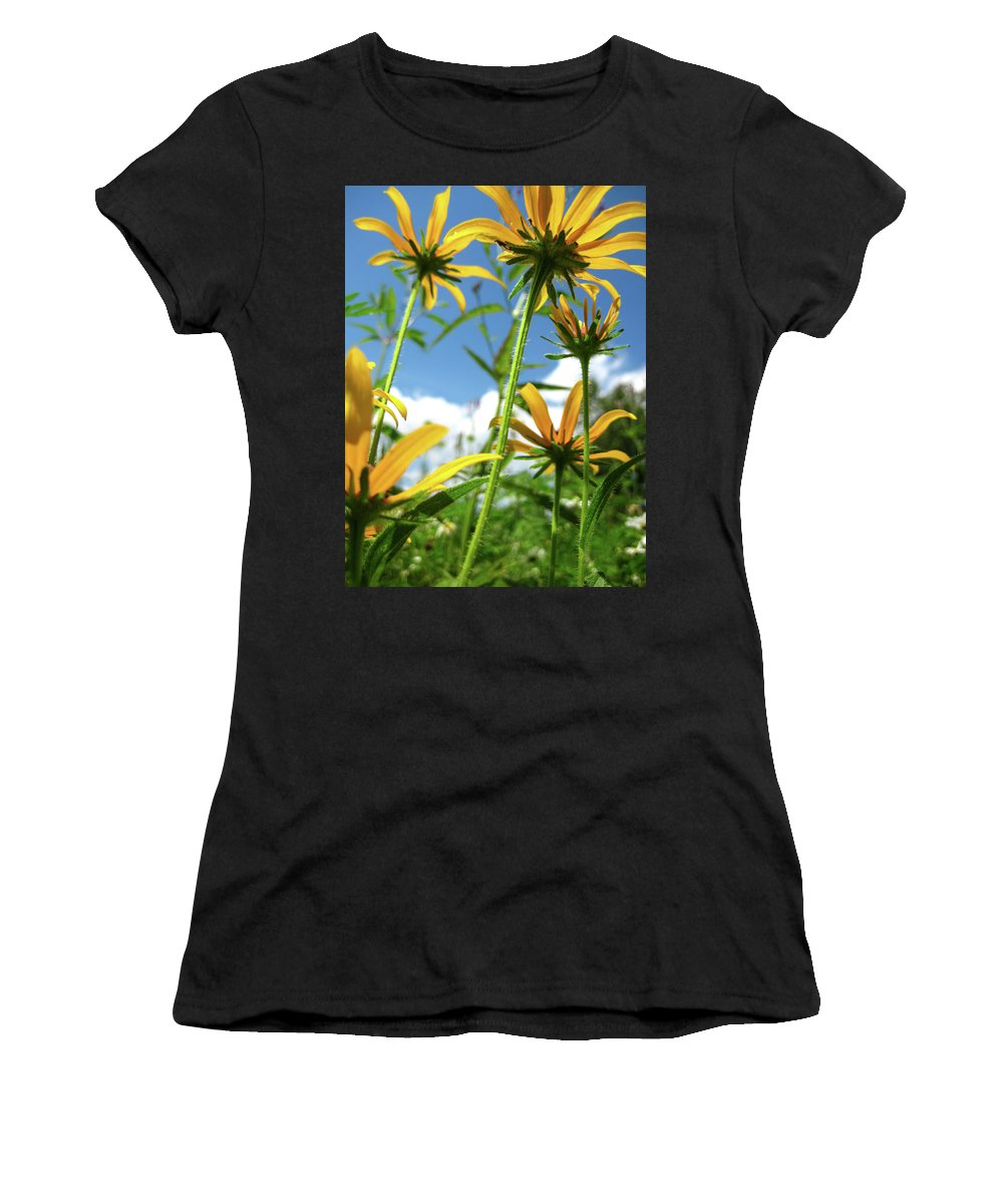 Flowers Women's T-Shirt (Athletic Fit) featuring the photograph Composites In The Lawn by Michael Wheeler
