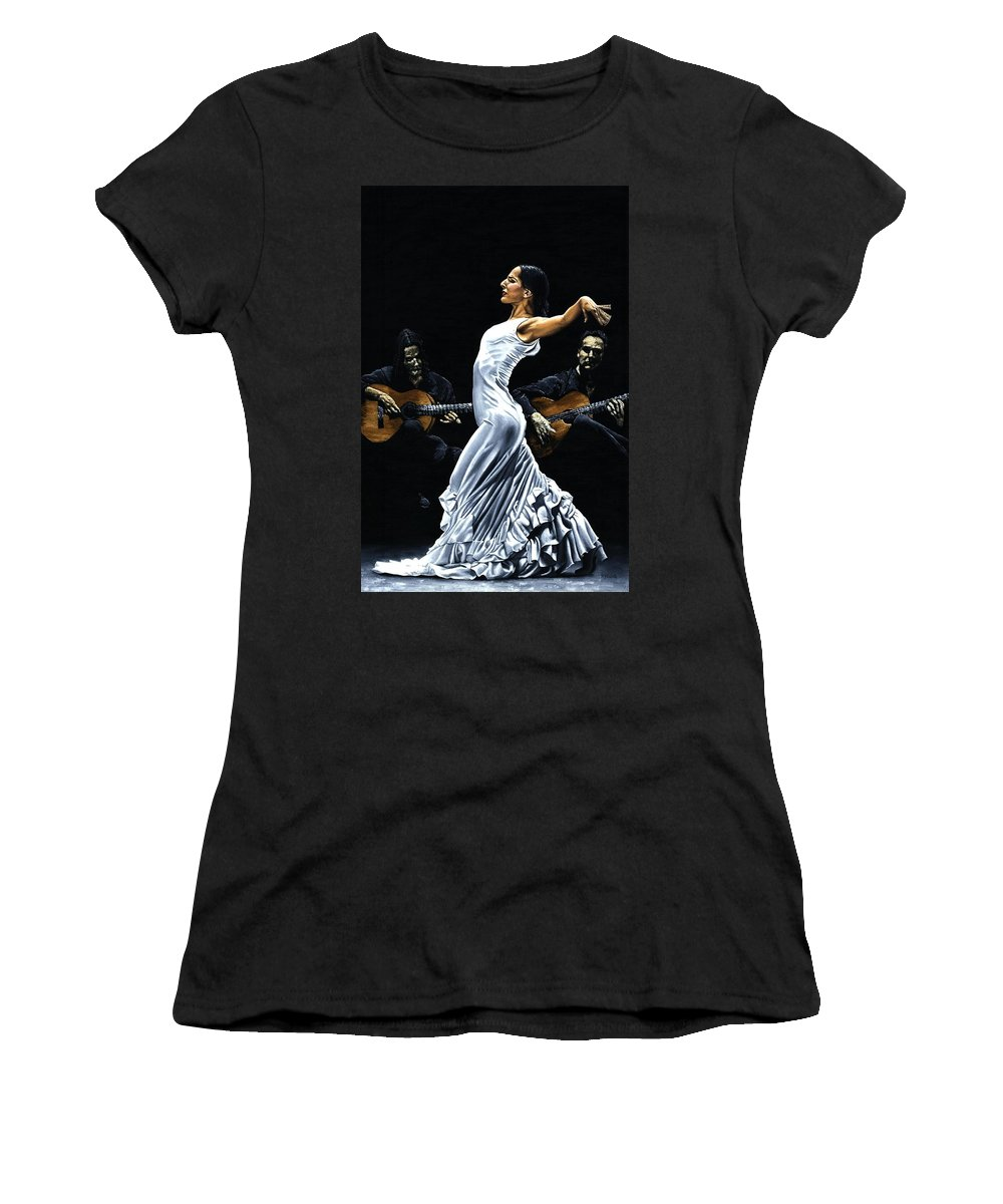 Flamenco Women's T-Shirt (Athletic Fit) featuring the painting Concentracion Del Funcionamiento Del Flamenco by Richard Young