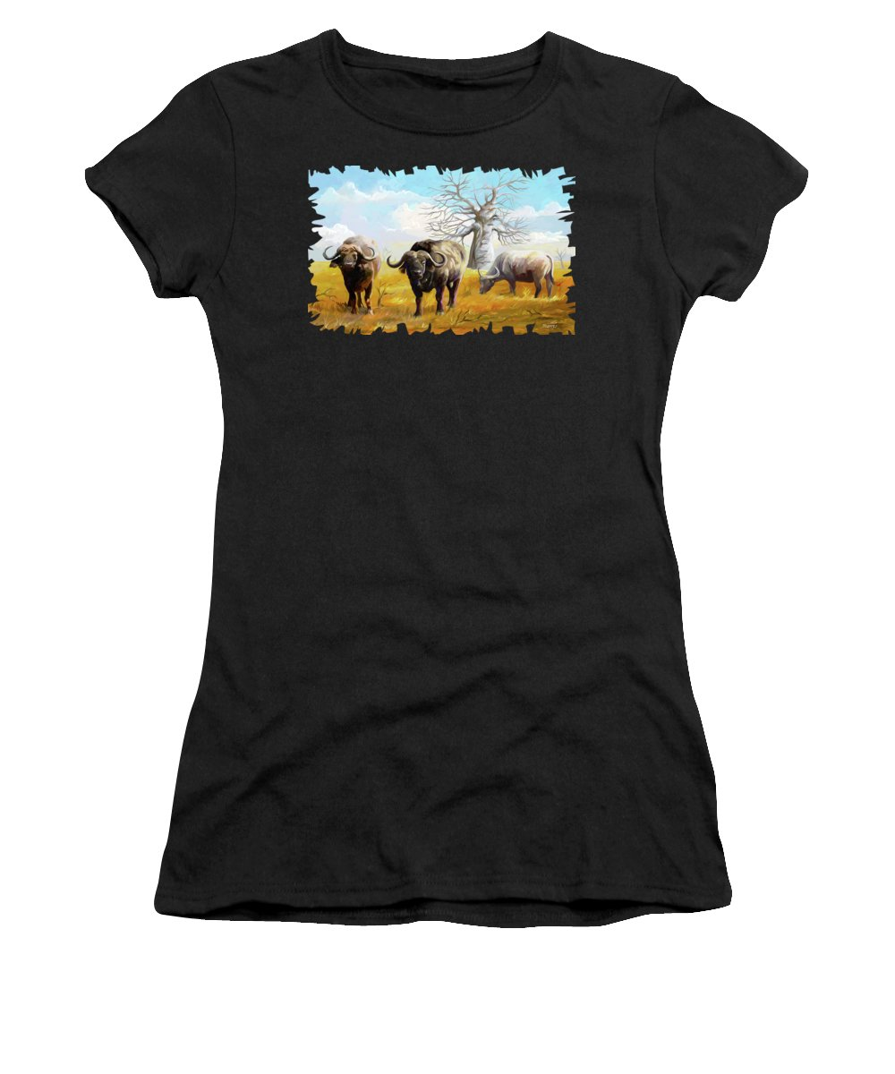 Cow Women's T-Shirt featuring the painting Confidence by Anthony Mwangi