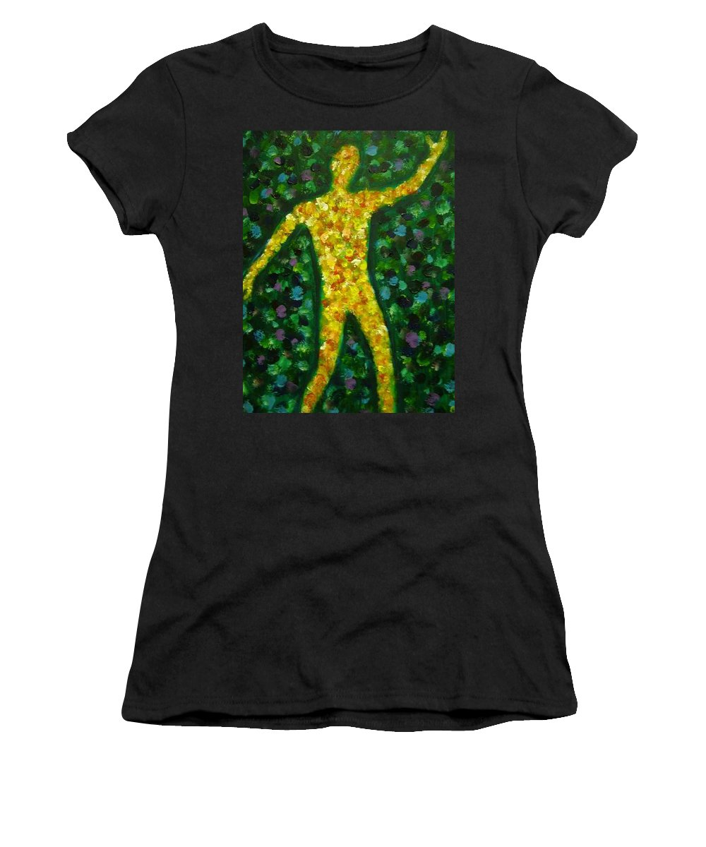 Acrylic Painting... Women's T-Shirt (Athletic Fit) featuring the painting Conflict And Contrast by Jan Gilmore