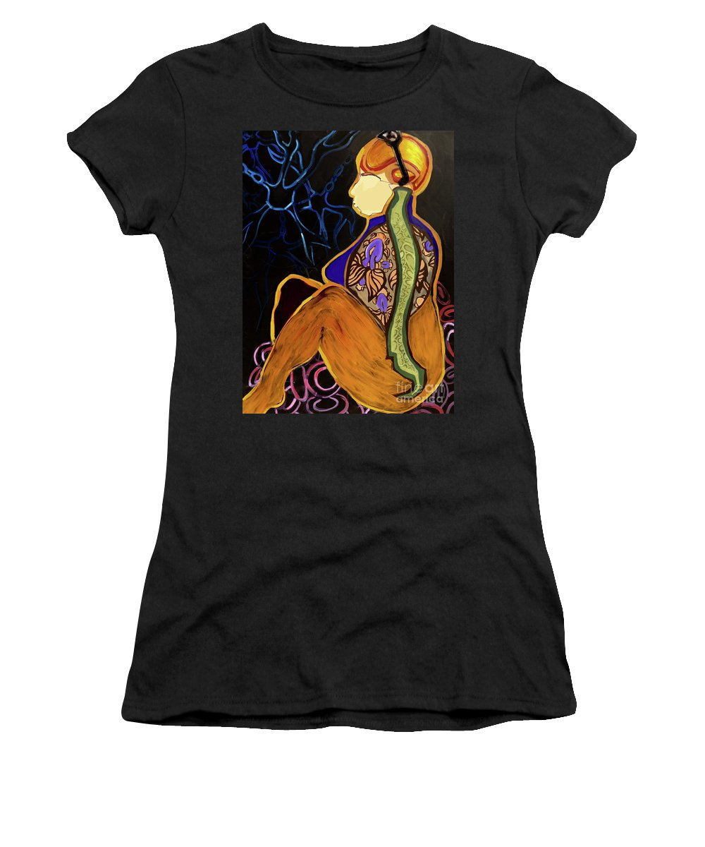 Spine Fish Goldfish Back Gold Synapse Brain Head Women's T-Shirt (Athletic Fit) featuring the painting Connection by Tiffany Brazell