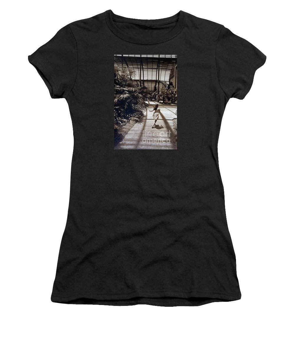 Sepia Women's T-Shirt (Athletic Fit) featuring the photograph Conservatory, Barcelona 1976 by Michael Ziegler