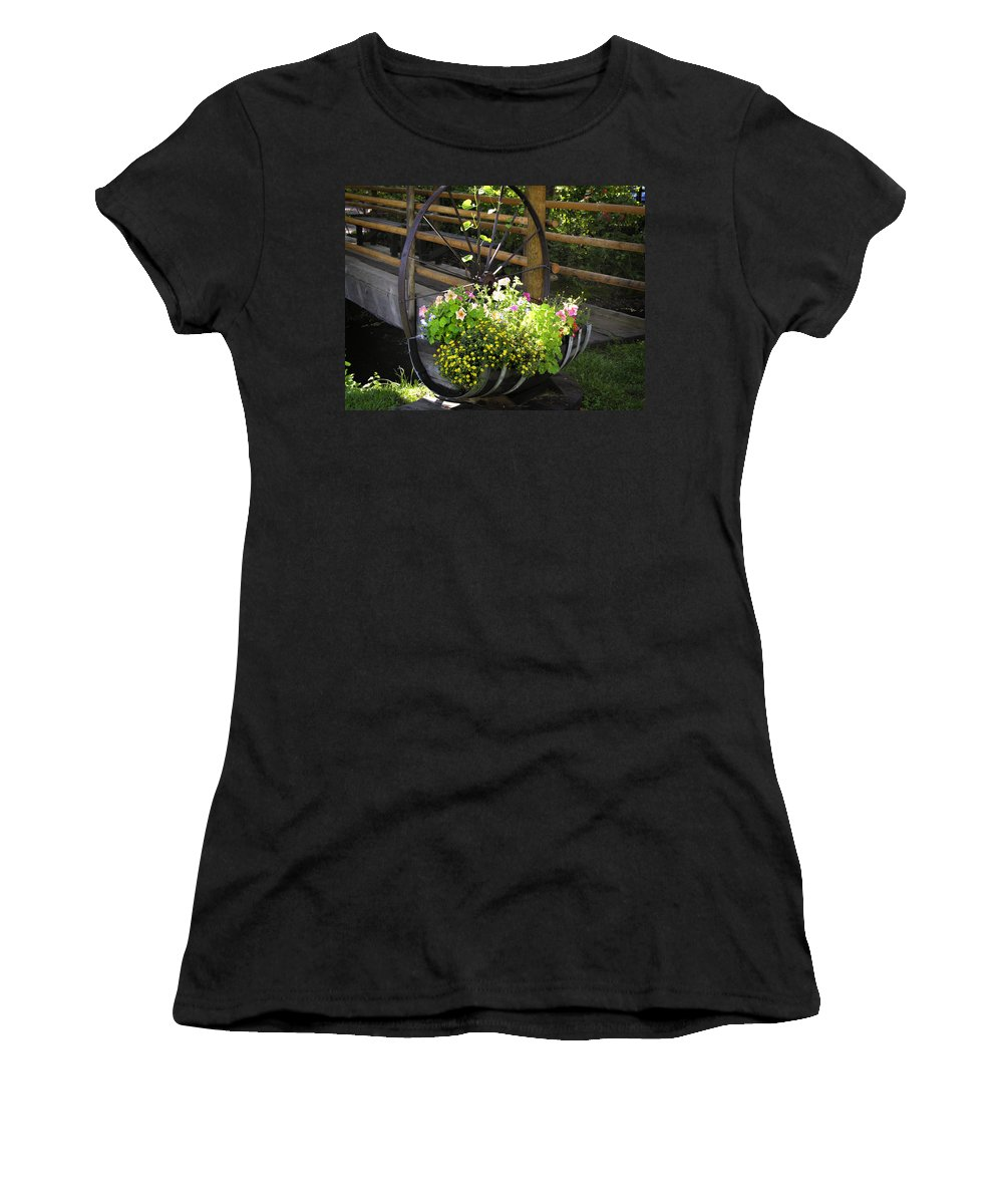 Flower Women's T-Shirt (Athletic Fit) featuring the photograph Contained Flowers by Marilyn Hunt