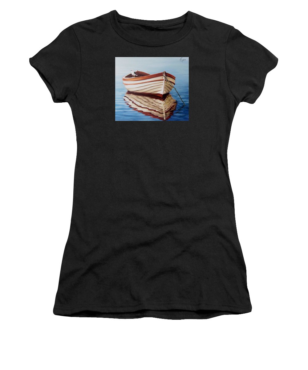 Sea Seascape Boat Reflections Water Ocean Seagull Bird Women's T-Shirt (Athletic Fit) featuring the painting Contemplative by Natalia Tejera