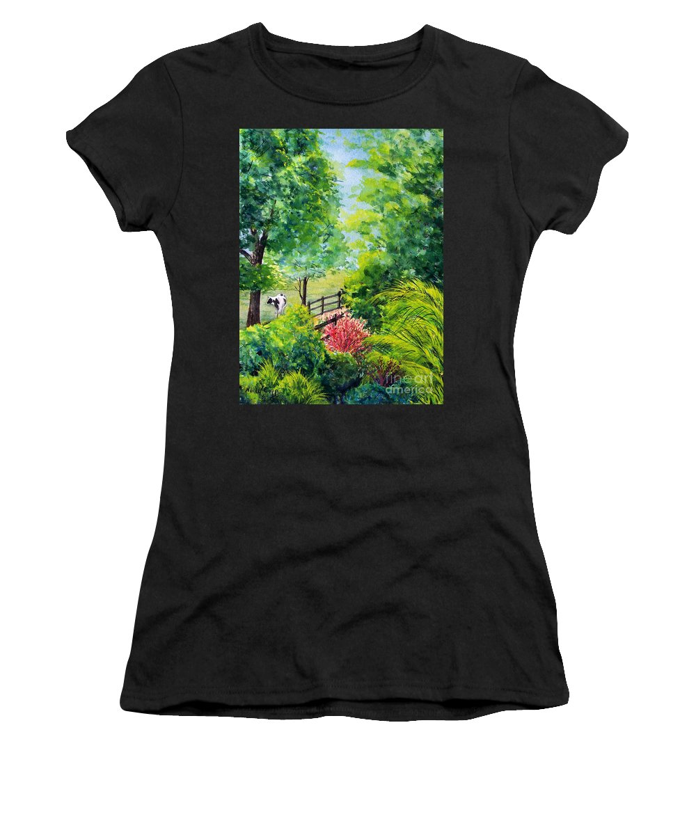 Cow Women's T-Shirt (Athletic Fit) featuring the painting Contentment by Nancy Cupp