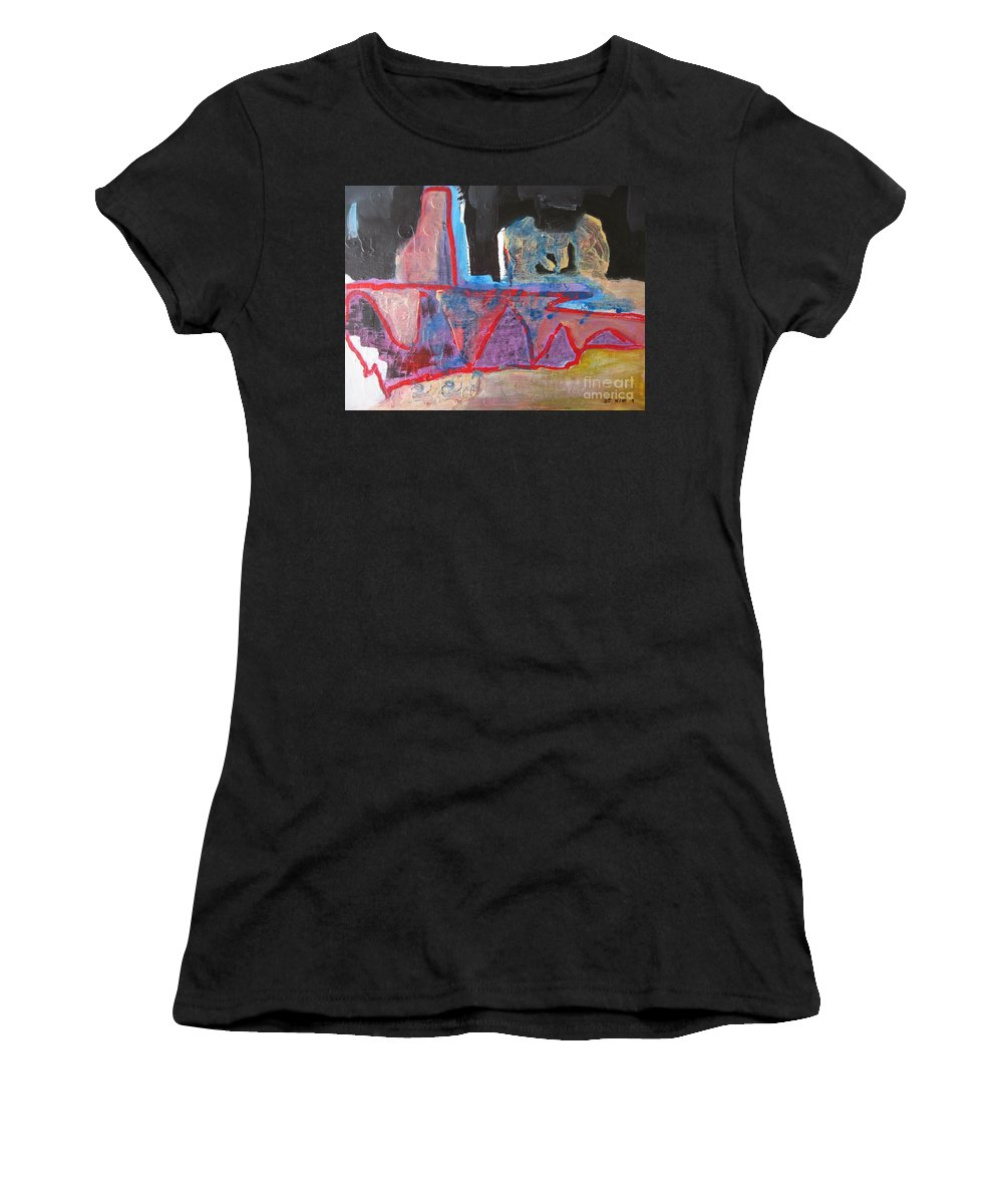 Abstract Paintings Women's T-Shirt (Athletic Fit) featuring the painting Contradiction Of Time by Seon-Jeong Kim