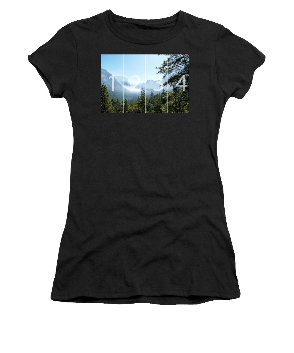 El Capitan Women's T-Shirt (Athletic Fit) featuring the digital art Controlled Burn Of Yosemite Panoramic Map by Michael Bessler