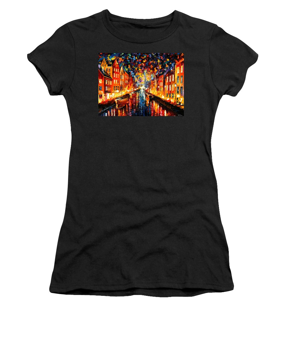 Afremov Women's T-Shirt (Athletic Fit) featuring the painting Copenhagen by Leonid Afremov