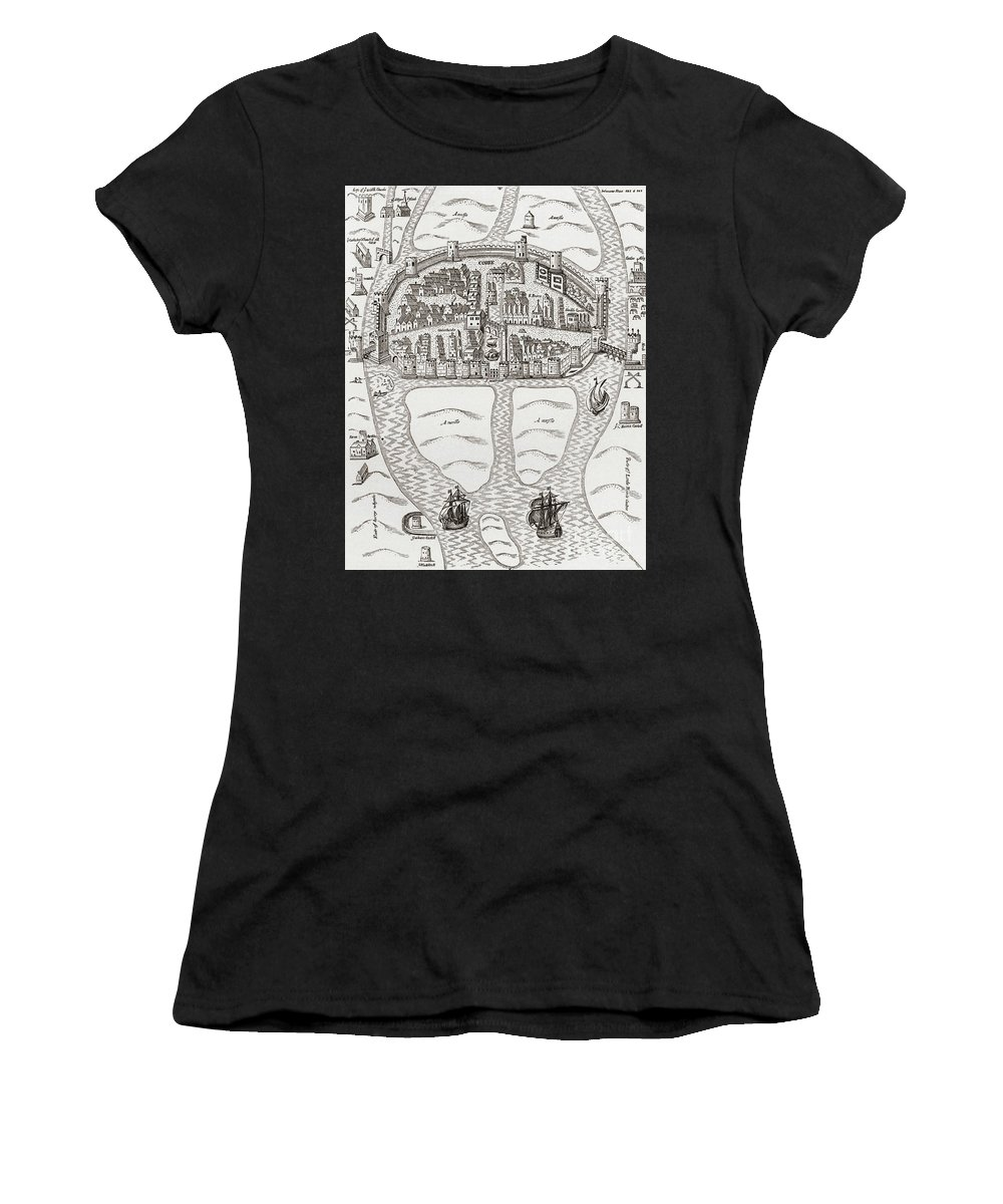 Cork Women's T-Shirt (Athletic Fit) featuring the drawing Cork, County Cork, Ireland In 1633 by Irish School