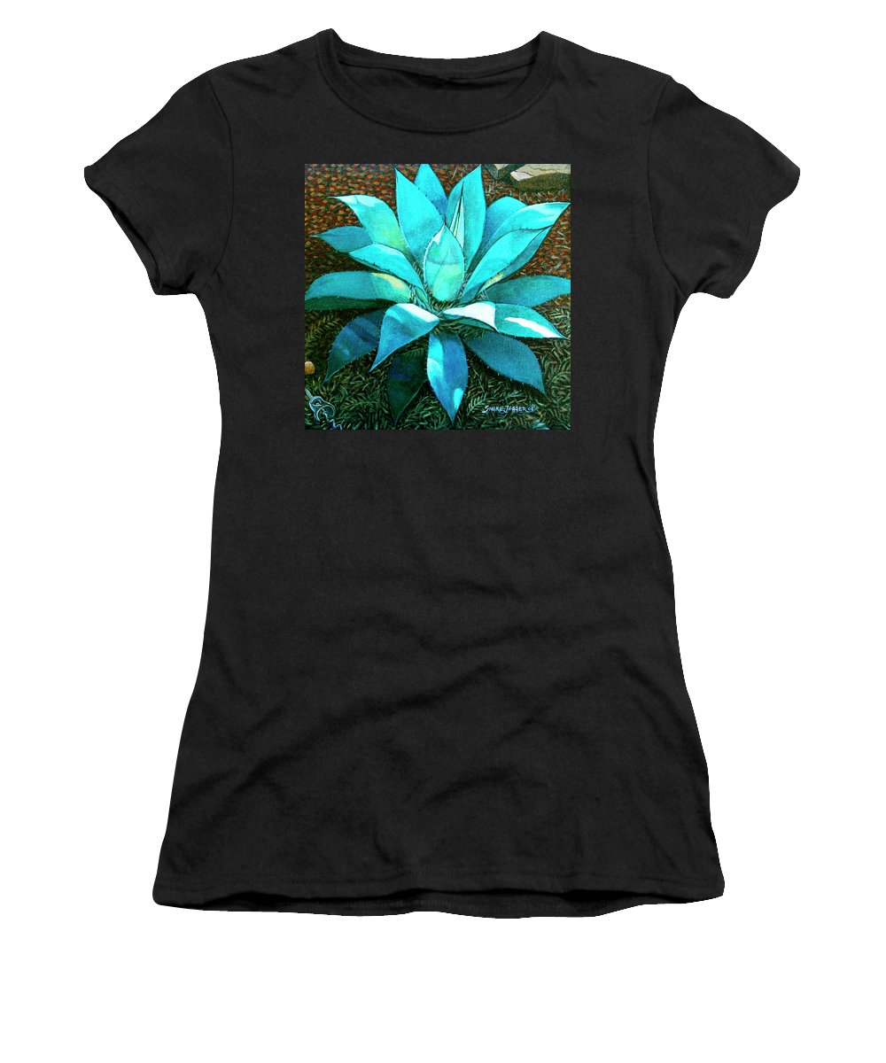 Cactus Women's T-Shirt (Athletic Fit) featuring the painting Corkscrew by Snake Jagger