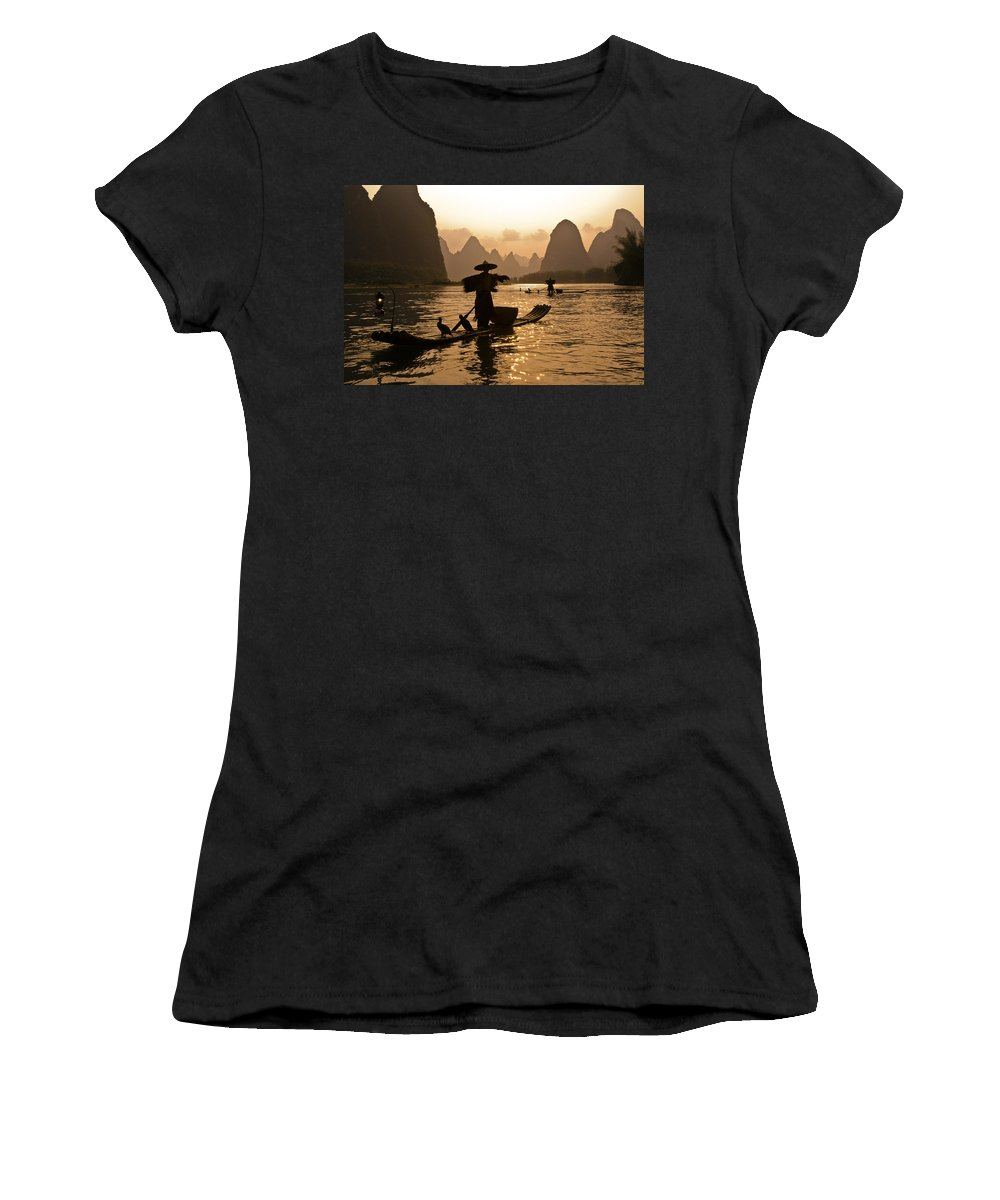 Asia Women's T-Shirt (Athletic Fit) featuring the photograph Cormorant Fisherman At Sunset by Michele Burgess