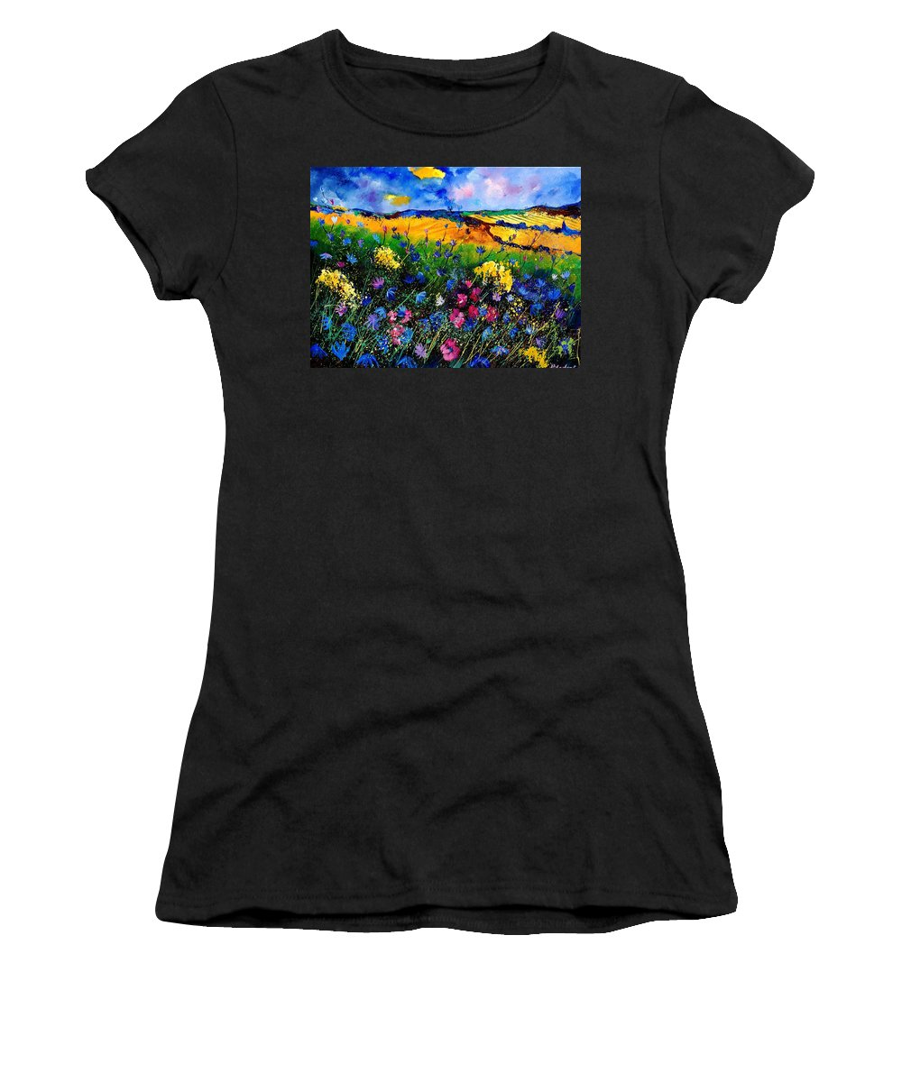 Flowers Women's T-Shirt featuring the painting Cornflowers 680808 by Pol Ledent