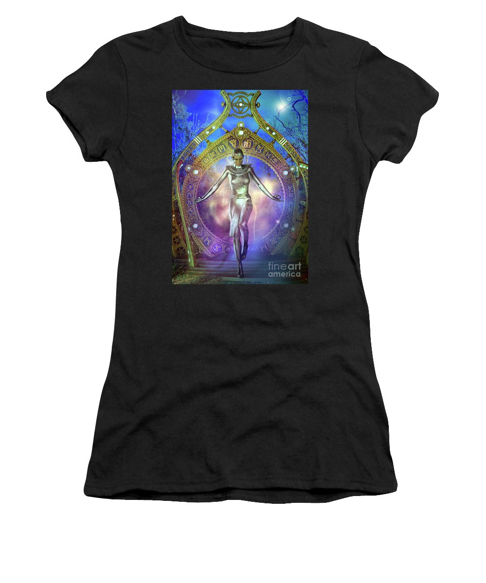 Fantasy Women's T-Shirt (Athletic Fit) featuring the digital art Cosmic Gypsy B by Shadowlea Is