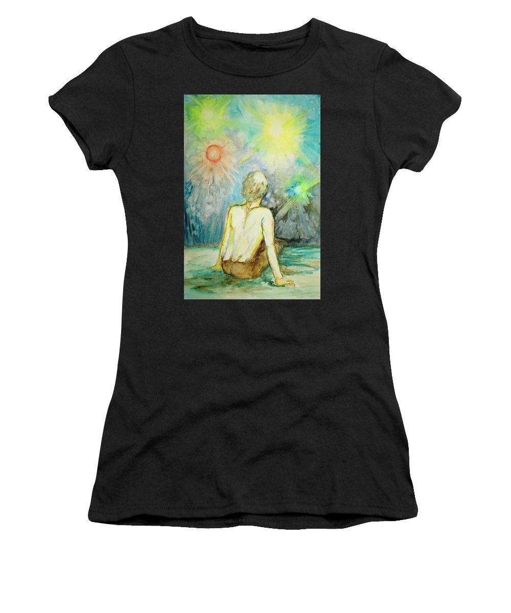 Surrealism Women's T-Shirt (Athletic Fit) featuring the painting Cosmic Man by Marilyn Green