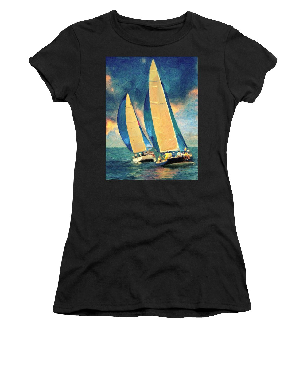 Sailing Women's T-Shirt (Athletic Fit) featuring the painting Costa Smeralda by Zapista