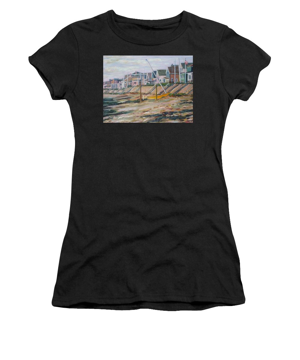 Beach Women's T-Shirt (Athletic Fit) featuring the painting Cottages Along Moody Beach by Richard Nowak