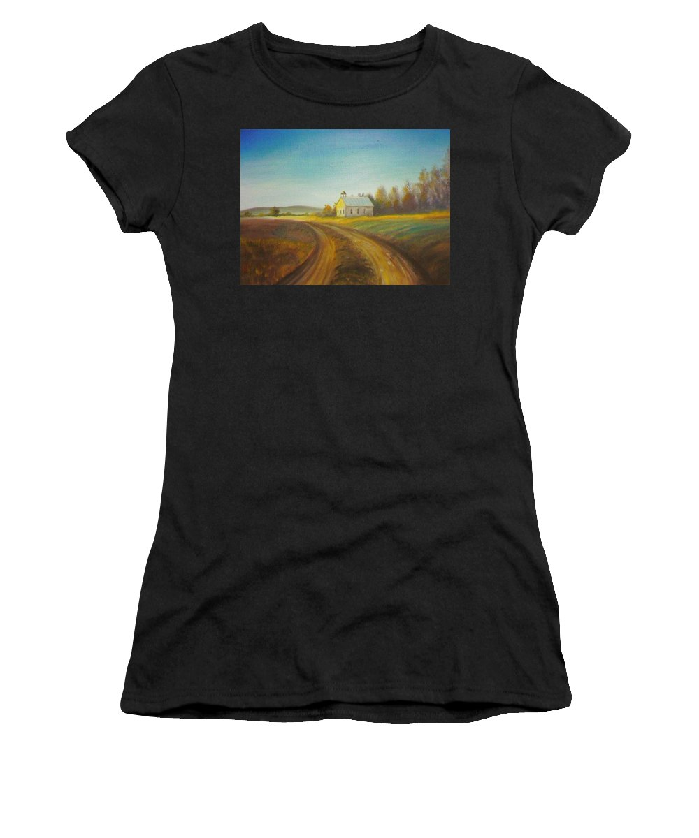 Landscape Women's T-Shirt (Athletic Fit) featuring the painting Country Church by Scott Easom