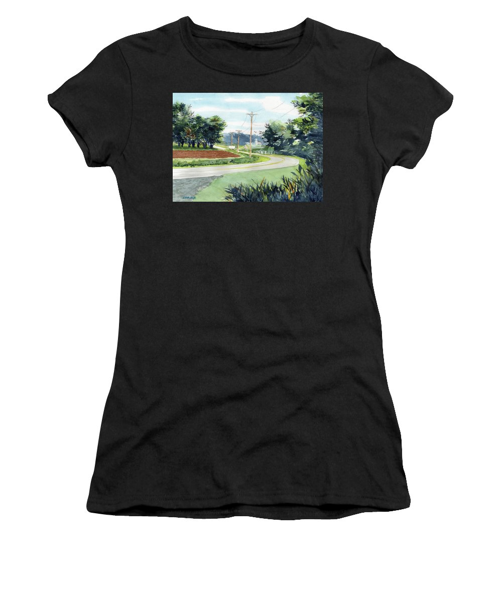 Country Landscape. Barn In Background Women's T-Shirt featuring the painting Country Corner by Dick Dee