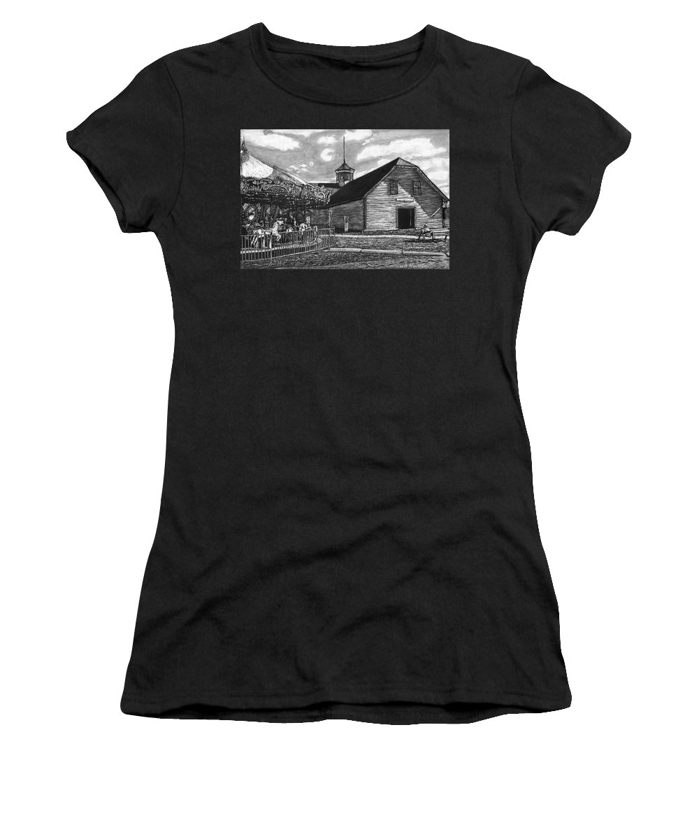 Landscape Women's T-Shirt featuring the drawing Country Fair by Robert Goudreau