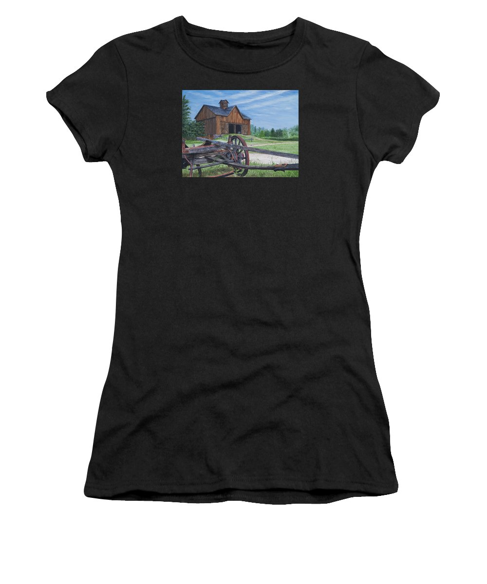 Country Farm Women's T-Shirt (Athletic Fit) featuring the painting Country Farm by Vicky Path