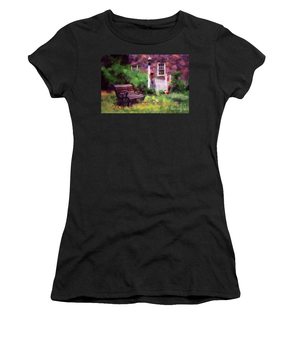 Bench Women's T-Shirt (Athletic Fit) featuring the photograph Country Garden by Lois Bryan