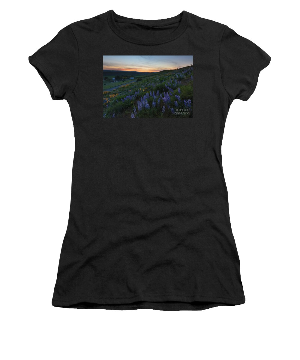 Meadow Women's T-Shirt featuring the photograph Country Meadow Sunset by Mike Dawson