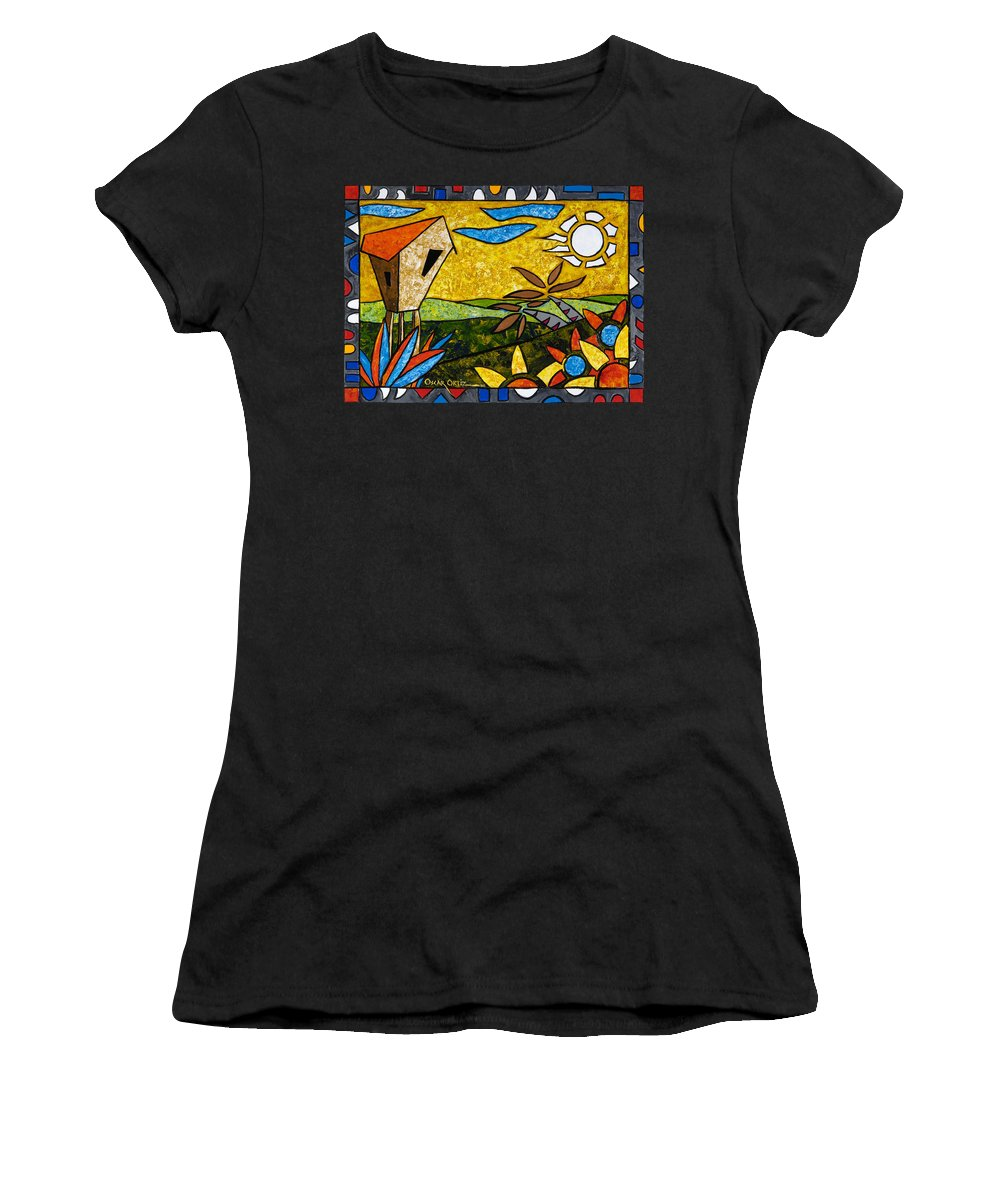 Puerto Rico Women's T-Shirt (Athletic Fit) featuring the painting Country Peace by Oscar Ortiz