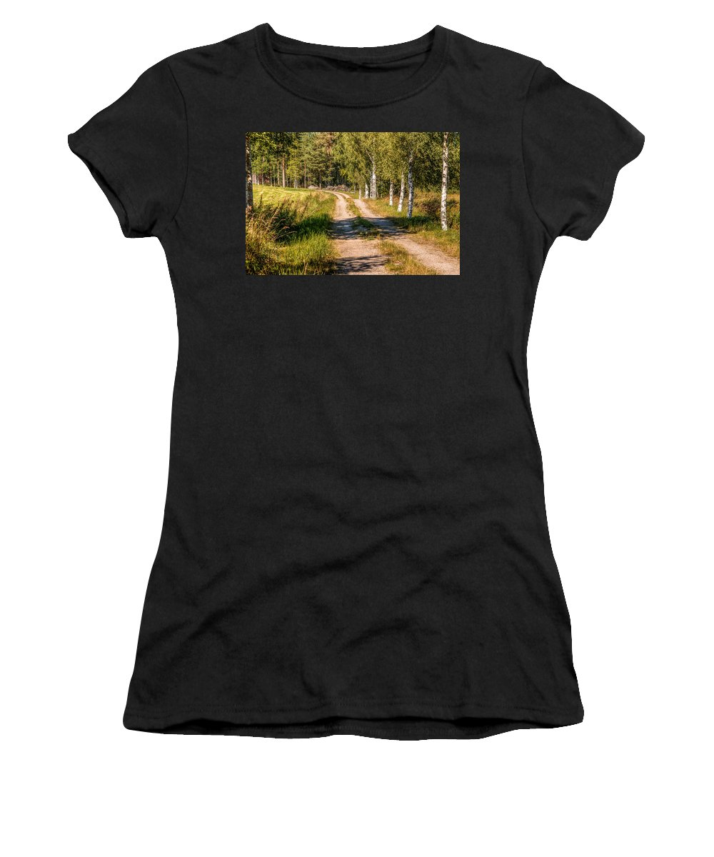 Landscape Women's T-Shirt (Athletic Fit) featuring the photograph Country Road by Kristina Rinell