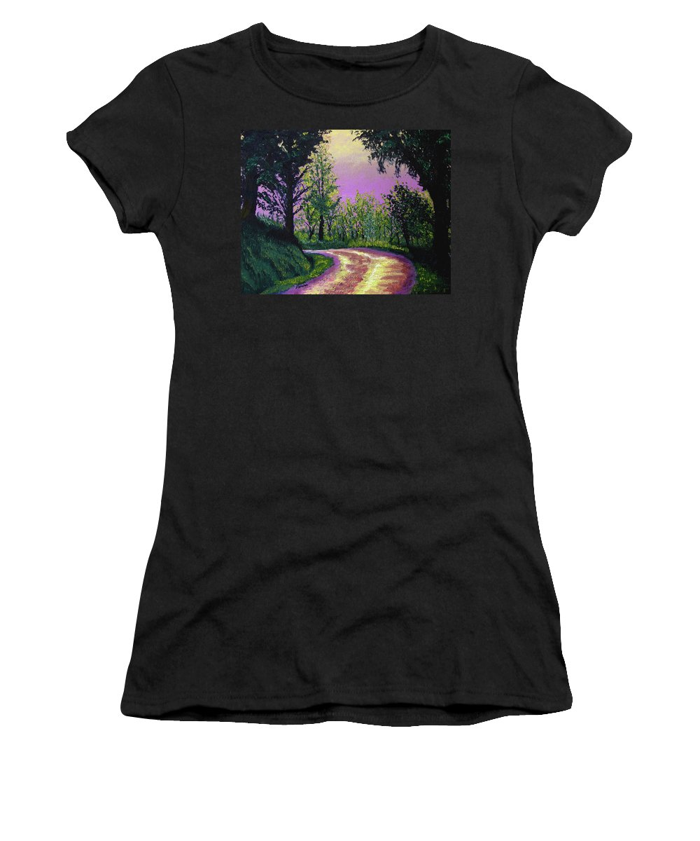 Landscape Women's T-Shirt (Athletic Fit) featuring the painting Country Road by Stan Hamilton