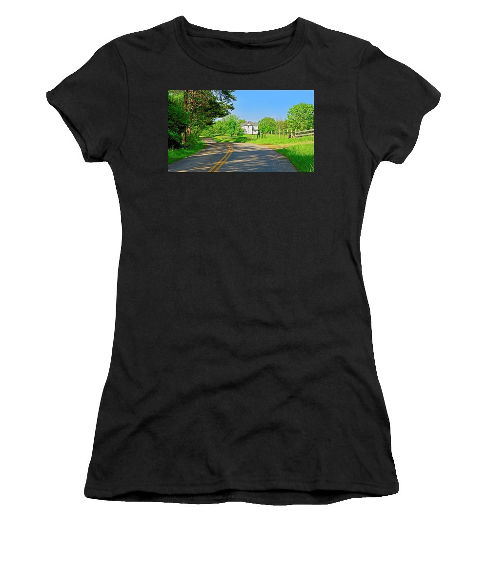 Country Roads Women's T-Shirt featuring the photograph Country Roads Of America, Smith Mountain Lake, Va. by The James Roney Collection